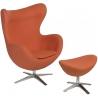Designerski Fotel tapicerowany z podnóżkiem Jajo Pomarańczowy D2.Design do salonu i sypialni.