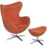 Jajo orange swivel armchair with footrest D2.Design