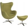 Designerski Fotel tapicerowany z podnóżkiem Jajo Oliwkowy D2.Design do salonu i sypialni.