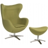 Jajo olive swivel armchair with footrest D2.Design