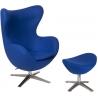 Designerski Fotel tapicerowany z podnóżkiem Jajo Niebieski D2.Design do salonu i sypialni.