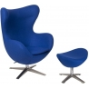Jajo blue swivel armchair with footrest D2.Design
