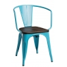 Paris Arms Wood brushed walnut&blue metal chair D2.Design