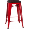 Paris 75 Wood brushed walnut&red industrial bar stool D2.Design