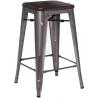 Paris 75 Wood brushed walnut&metal industrial bar stool D2.Design