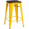 Paris 75 Wood brushed walnut&yellow industrial bar stool D2.Design