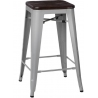Paris 75 Wood brushed walnut&silver industrial bar stool D2.Design