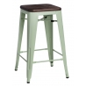 Paris 75 Wood brushed walnut&green industrial bar stool D2.Design