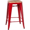 Paris Wood 65 natural&red industrial bar stool D2.Design