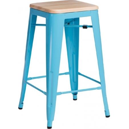 Paris Wood 65 natural&blue industrial bar stool D2.Design