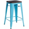 Paris Wood 65 walnut&blue industrial bar stool D2.Design