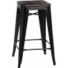 Paris Wood 65 brushed walnut&black industrial bar stool D2.Design