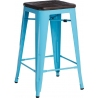 Paris Wood 65 brushed walnut&blue industrial bar stool D2.Design