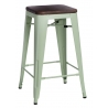 Paris Wood 65 brushed walnut&green industrial bar stool D2.Design