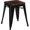 Paris Wood walnut&black industrial metal stool D2.Design