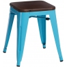 Paris Wood walnut&blue industrial metal stool D2.Design