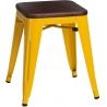 Paris Wood walnut&yellow industrial metal stool D2.Design