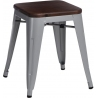 Paris Wood walnut&silver industrial metal stool D2.Design