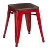 Paris Wood walnut&red industrial metal stool D2.Design