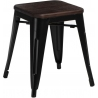 Paris Wood brushed walnut&black industrial metal stool D2.Design