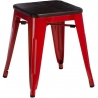 Paris Wood brushed walnut&red industrial metal stool D2.Design