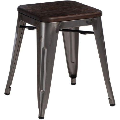 industrial metal stool Paris Wood brushed walnut&metalD2.Design