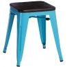 Paris Wood brushed walnut&blue industrial metal stool D2.Design