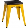 Paris Wood brushed walnut&yellow industrial metal stool D2.Design