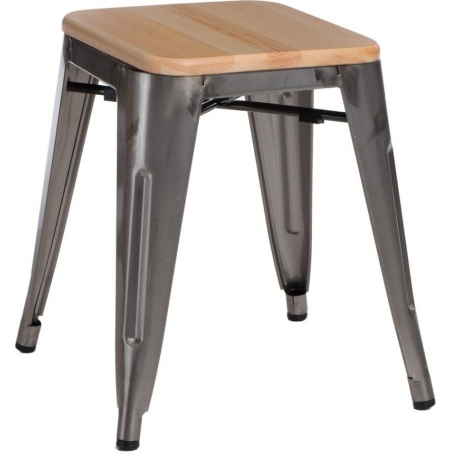 Paris Wood natural&Metalowy industrial metal stool D2.Design
