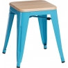 Paris Wood natural&blue industrial metal stool D2.Design