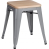Paris Wood natural&silver industrial metal stool D2.Design