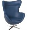 Designerski Fotel Jajo EcoLeather Ciemno niebieski D2.Design do salonu i sypialni.