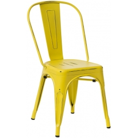 Designerskie Krzesło metalowe Paris Antique Żółte D2.Design do jadalni, salonu i kuchni.