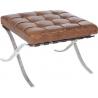 Barcelon Vintage dark brown quilted leather footstool D2.Design