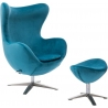 Jajo Velvet blue swivel armchair with footrest D2.Design