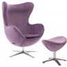 Jajo Velvet purple swivel armchair with footrest D2.Design