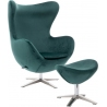 Jajo Velvet dark green swivel armchair with footrest D2.Design