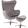 Jajo Velvet silver swivel armchair with footrest D2.Design