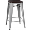Paris Wood 65 brushed walnut&silver industrial bar stool D2.Design