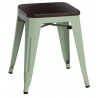 Paris Wood brushed walnut&green industrial metal stool D2.Design