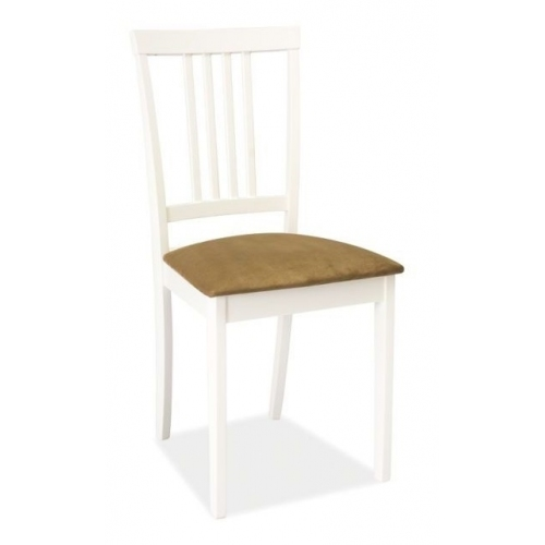 CD63 Soft white wooden chair with upholstered seat Signal