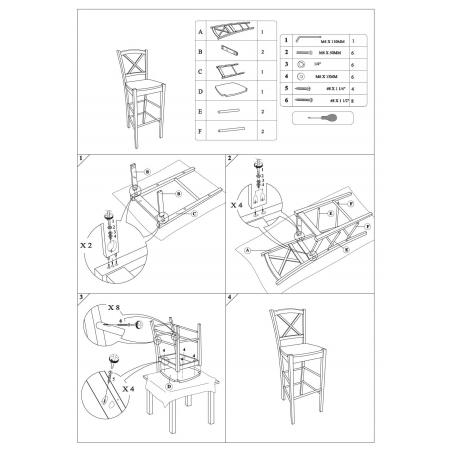 CD964 Wooden 75 white wooden bar chair Signal