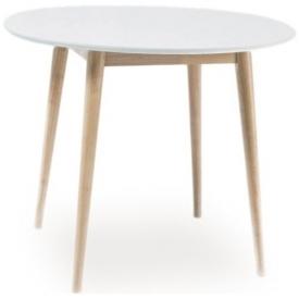 Stylowy Stół okrągły skandynawski Larson 90 Biały Signal do jadalni, kuchni i salonu.