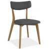 Designerskie Krzesło drewniane z tapicerowaniem Karl Szare Signal do jadalni, salonu i kuchni.