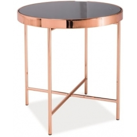 Gina 43 black&copper round glass coffee table Signal