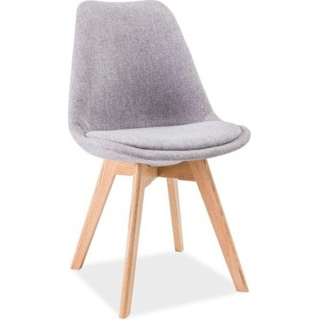 Dior light grey upholstered chair with wooden legs Signal
