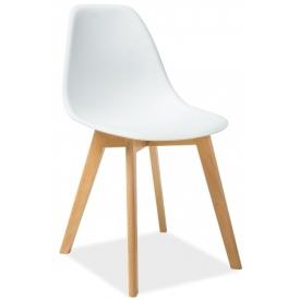 Moris white scandinavian chair with wooden legs Signal