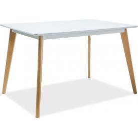 Skandynawski Stół prostokątny Declan 120x80 Biały Signal do salonu, jadalni i kuchni.