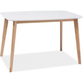 Skandynawski Stół prostokątny Mosso 120x75 Biały Signal do salonu, jadalni i kuchni.