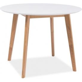 Stylowy Stół okrągły skandynawski Mosso III 100 Biały Signal do jadalni, kuchni i salonu.